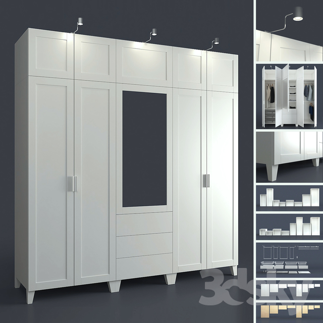 3d models wardrobe display cabinets modular system of ikpas platsa designer. Black Bedroom Furniture Sets. Home Design Ideas