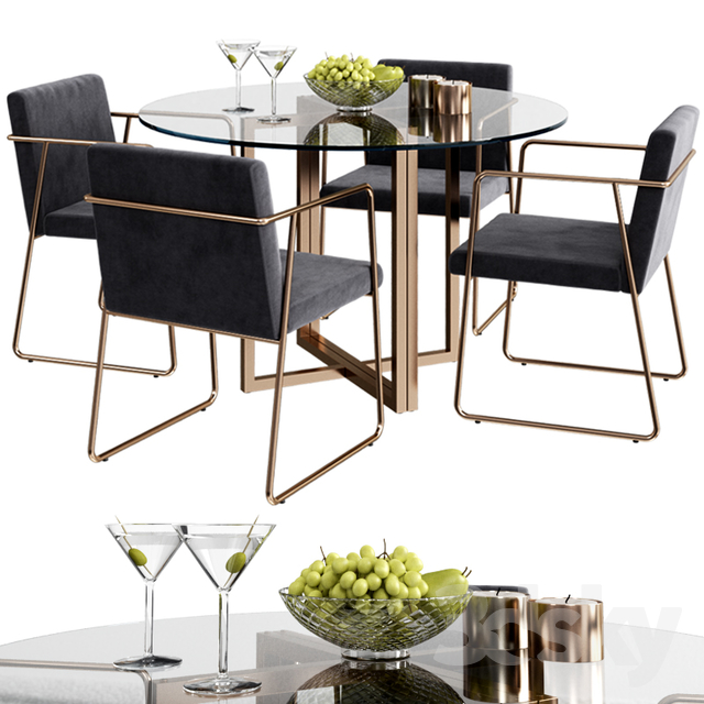 3d Models Table Chair Cb2 Rouka Chair Round Dining Table