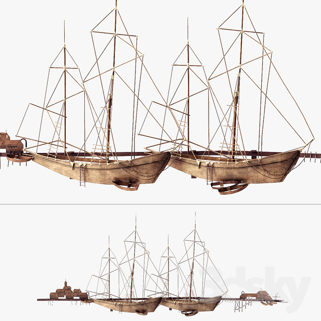 3d models: Sculpture - Curtis Jere Ships In The Harbor Wall