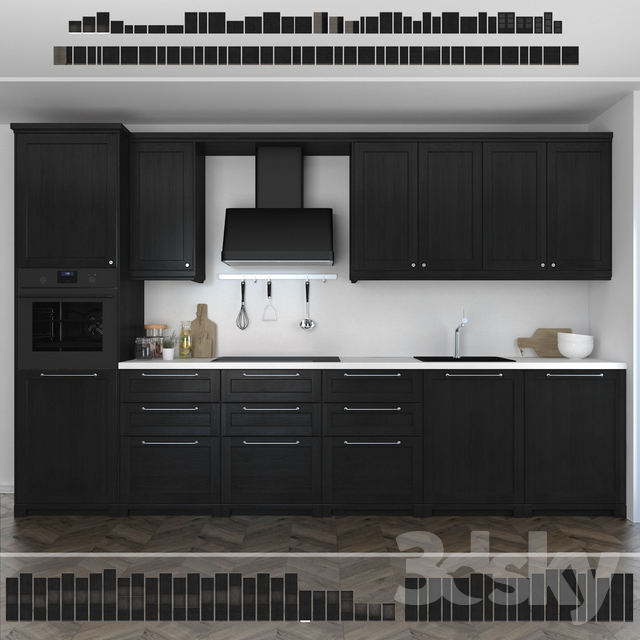 Ikea Kitchen Black Cabinets: Kitchen Ikea Lerhuttan / Lerhyttan (black Stain
