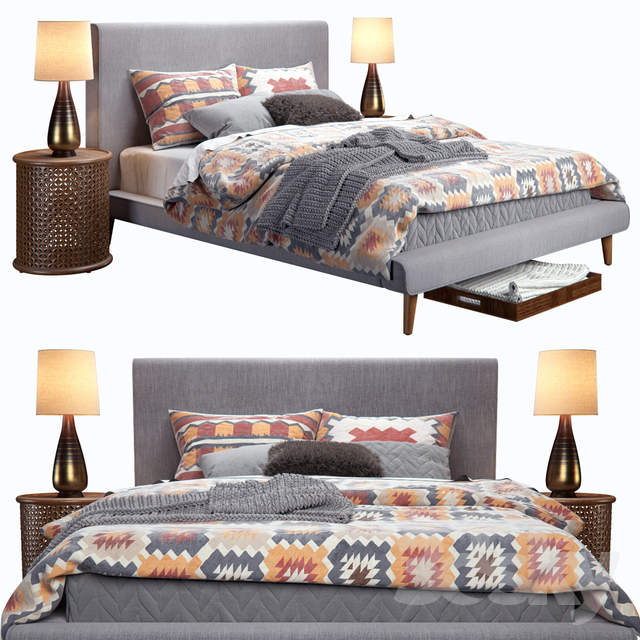 West Elm Mod Upholstered Bed