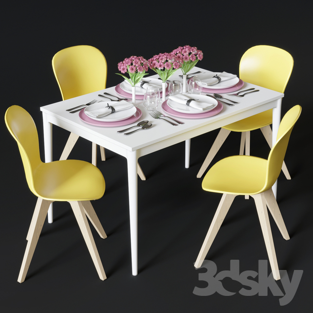 Excellent 3D Models Table Chair Dining Table And Chairs Boconcept Uwap Interior Chair Design Uwaporg