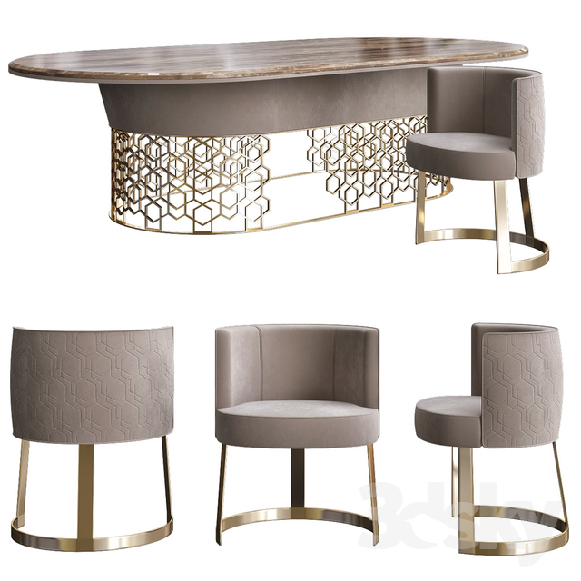 Amazing 3D Models Table Chair Clairmont By Longhi Spa Ocoug Best Dining Table And Chair Ideas Images Ocougorg
