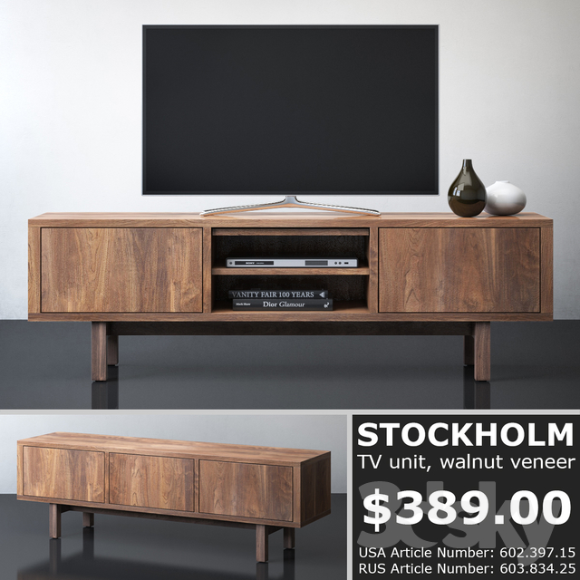 3d models sideboard chest of drawer ikea stockholm tv unit. Black Bedroom Furniture Sets. Home Design Ideas