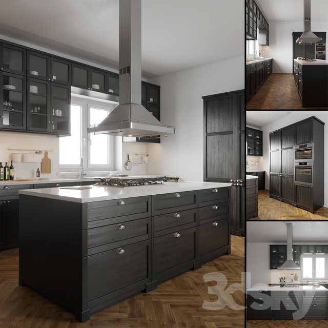 3d models kitchen ikea lerhyttan for Ikea cucina 3d