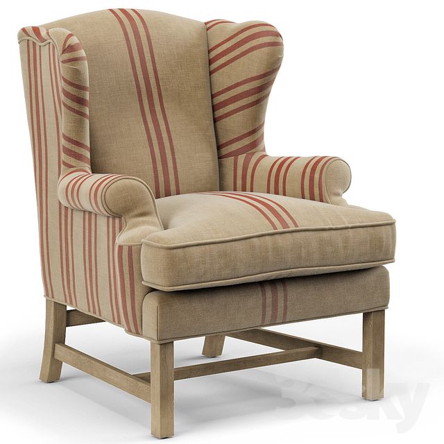 Khaki Linen English Club Chair With Red Stripe