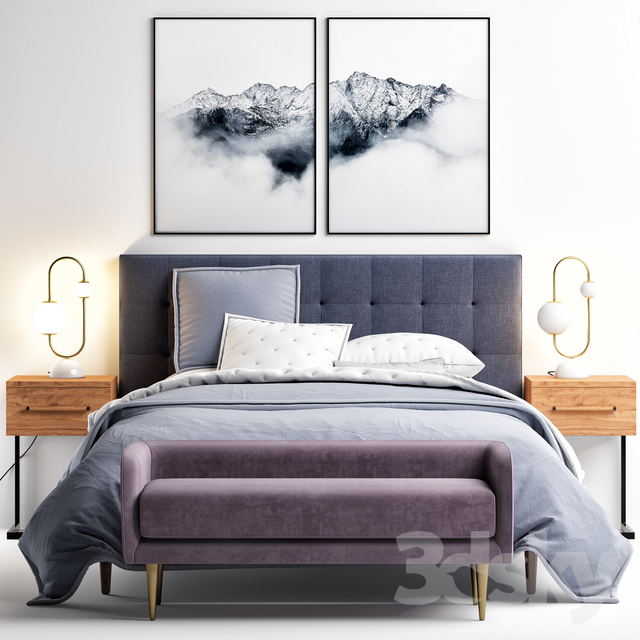 Westelm Grid-Tufted Upholstered Tapered Leg Bed