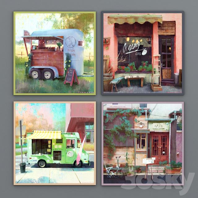 Set of 4 paintings