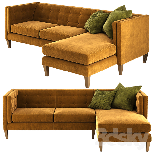Surprising 3D Models Sofa Crate And Barrel Aidan Sectional Sofa Gmtry Best Dining Table And Chair Ideas Images Gmtryco