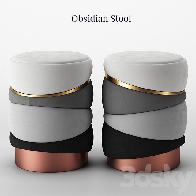 Muranti Obsidian Stool
