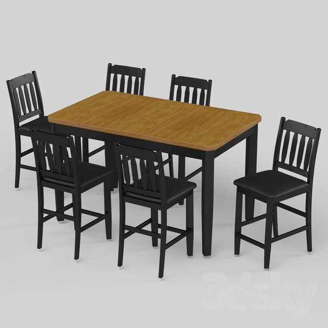 3d models: Table + Chair - Dining Table Sets 12