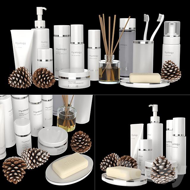 A set of white cosmetics.