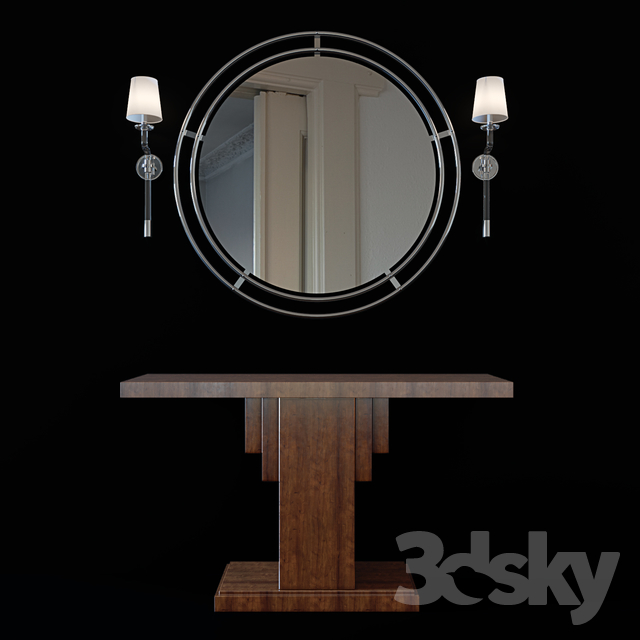 Tubular Steel Bauhaus Mirror, Penthouse Suite Pedestal Console and Parker Single Sconce in Polished Nickel