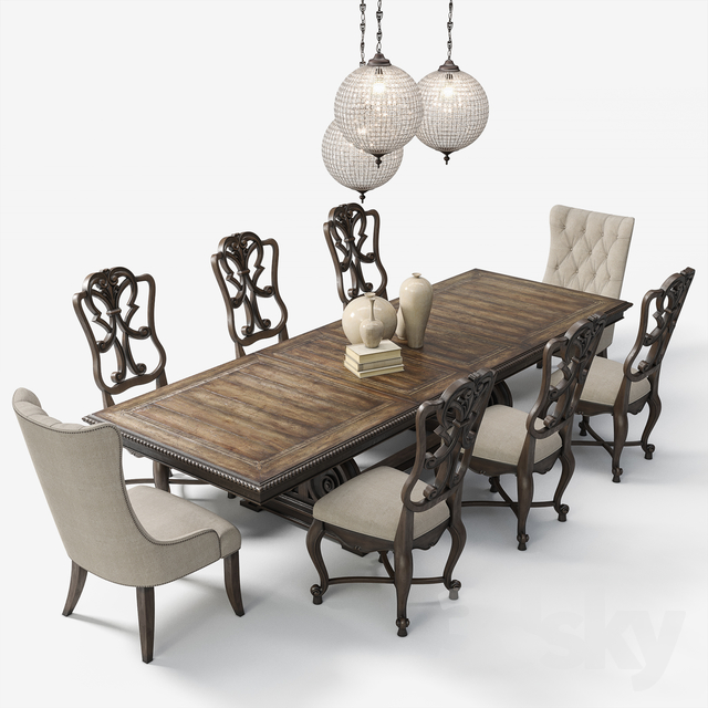 7c4ec1f777 3d models: Table + Chair - Hooker Furniture: Dining Room Rhapsody