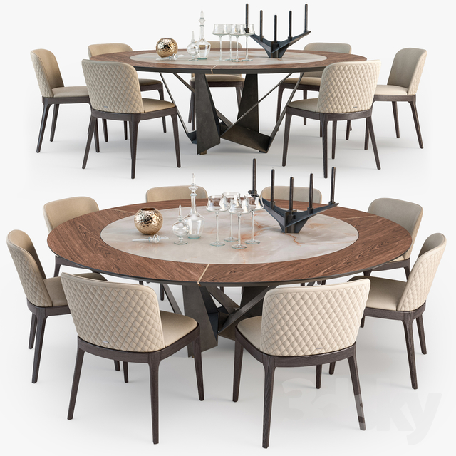 Cattelan Italia Skorpio round table Magda chair set : round table and chair set - lorbestier.org