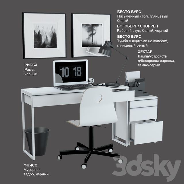 белый глянцевый рабочий стол