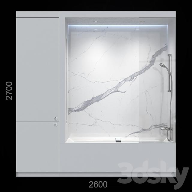 White bathroom with closet.