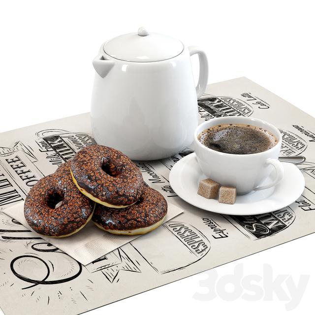 Coffee shop   Donuts set 01
