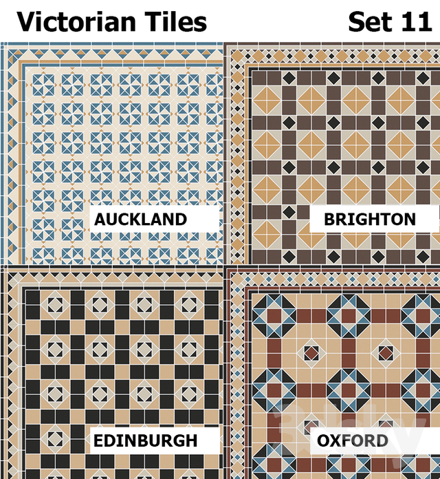 3d models: Tile - Topcer Victorian Tiles Set 11