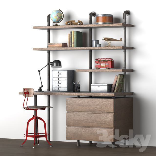 INDUSTRIAL PIPE SINGLE DESK & SHELVING WITH DRAWERS