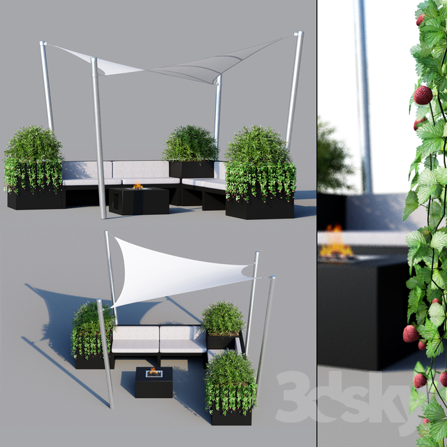 3d models: Outdoor - Outdoor furniture, sun protection system (awning)