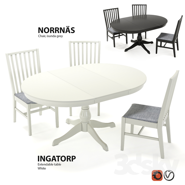 Terrific 3D Models Table Chair Table And Chairs Ikea Ingatorp Pdpeps Interior Chair Design Pdpepsorg