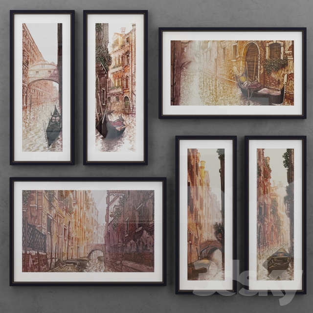 Set of paintings depicting Venice