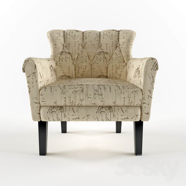 Enjoyable 3D Models Arm Chair Homelegance Barlowe Fabric Flared Theyellowbook Wood Chair Design Ideas Theyellowbookinfo
