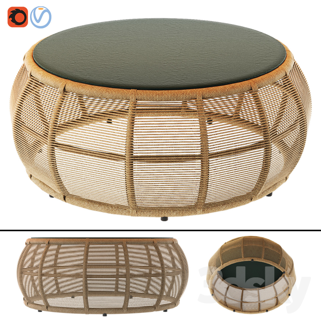 TAMARIN Round Resin Wicker and Gray Glass Garden Coffee Table