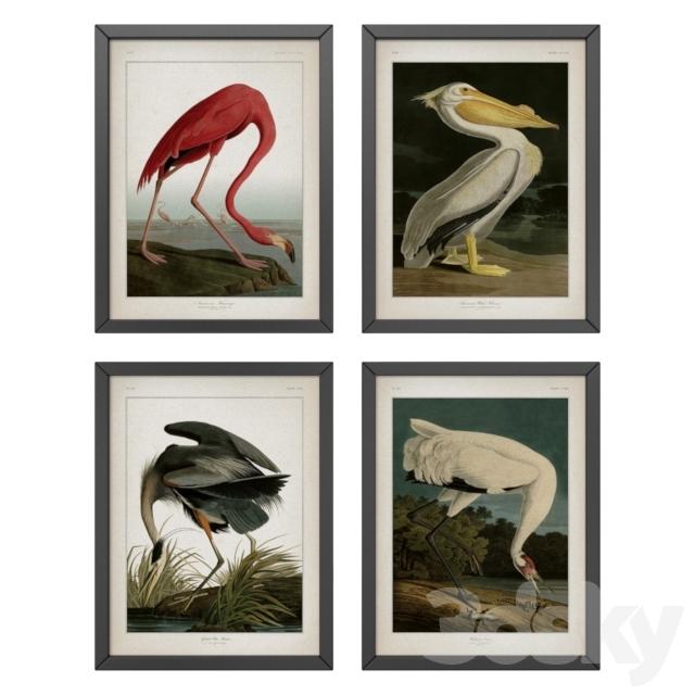 Birds set of four