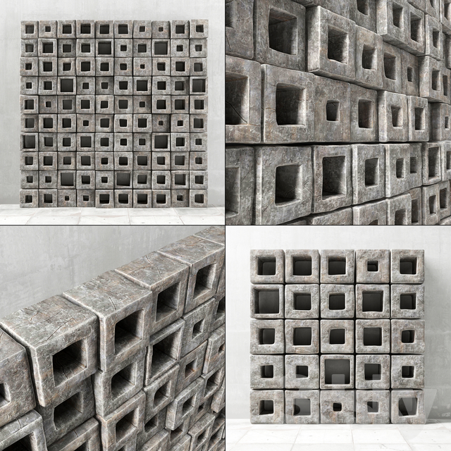 Panel stone cube hole / Panel of stone cubes with a hole