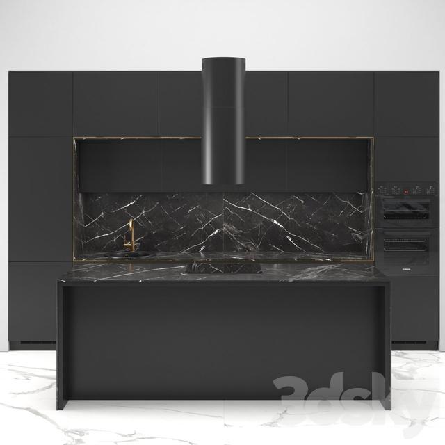 Modern straight kitchen INGE with the island 01