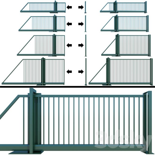 Sliding gate, wicket