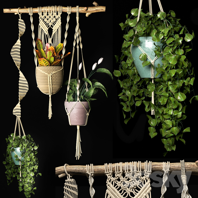 Decorative set of hanging pots 2