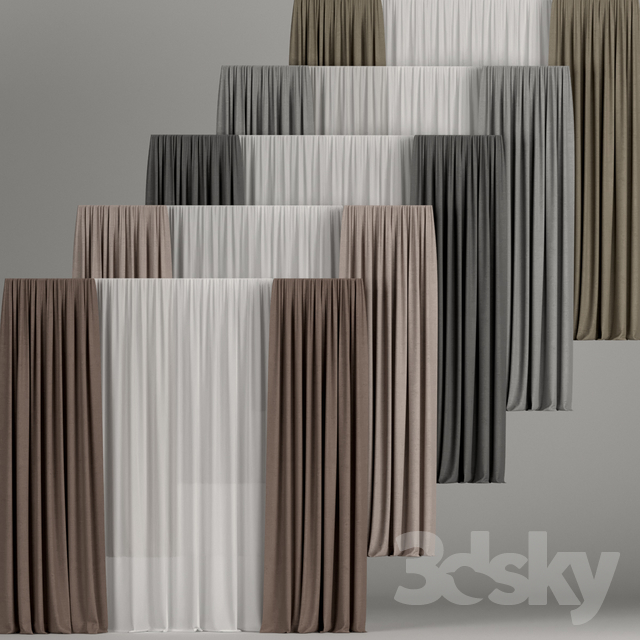 A set of curtains in different colors with tulle.