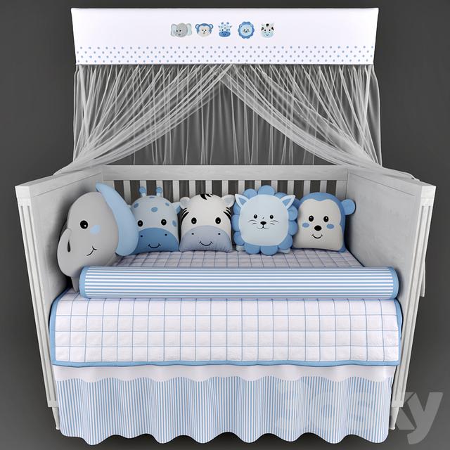 Cots Mon Tresor and underwear in the crib Friends Safari Blue
