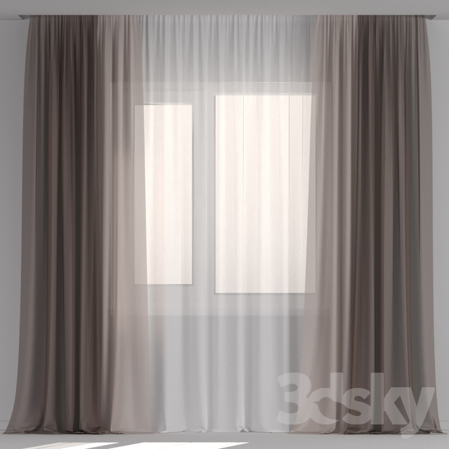 Brown tulle curtains.