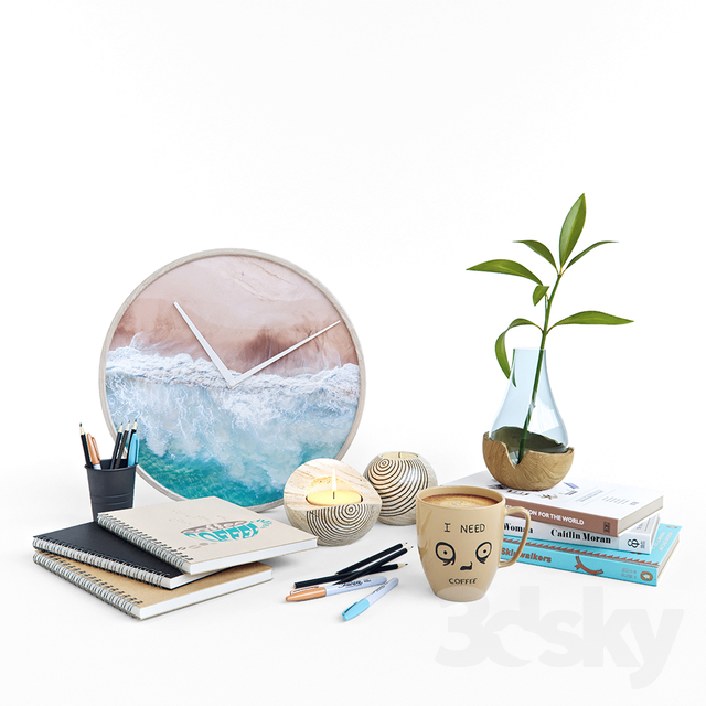 Decorative set with turquoise accents