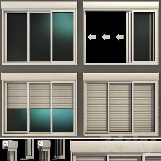 Sliding stained glass windows with roller shutters