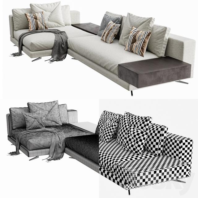 Remarkable 3D Models Sofa Minotti White Arrangement 04 Beatyapartments Chair Design Images Beatyapartmentscom