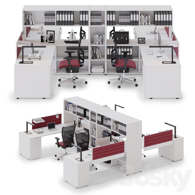 3d models: Office furniture - Office workspace LAS OXI (v4)