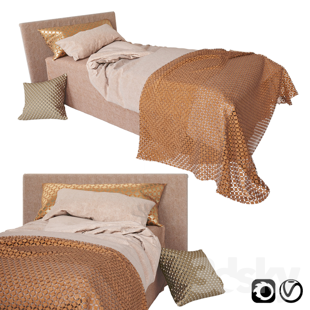Children bed with pink and orange bedding