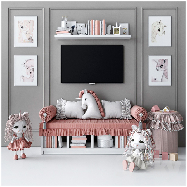 Set for decorating a children's room with unicorns