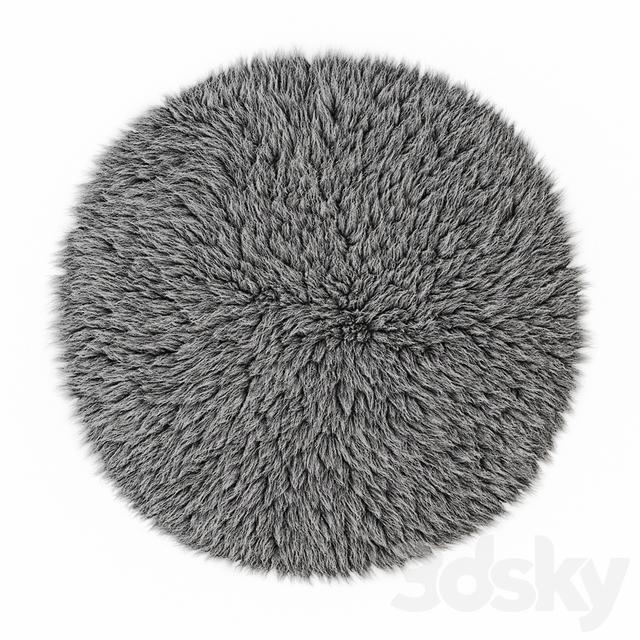 Round gray carpet fur
