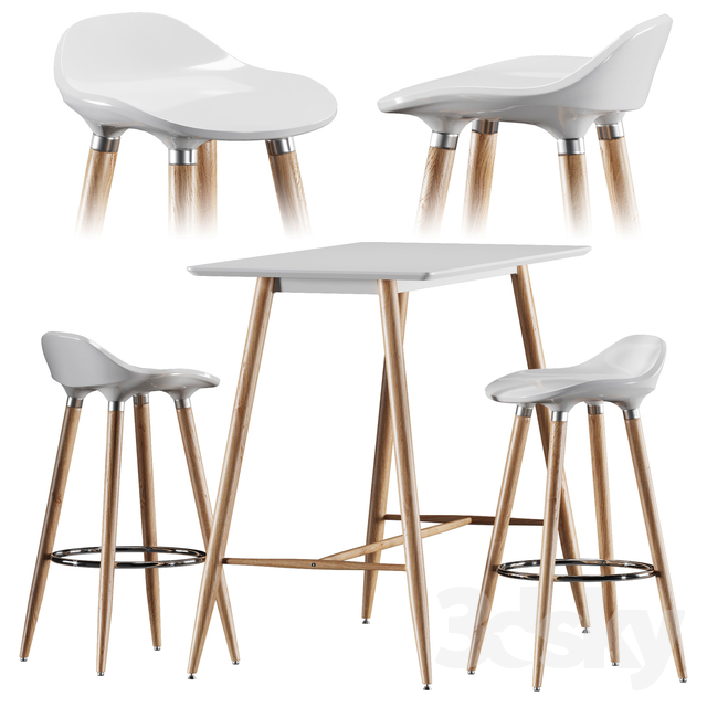 3d models: Table + Chair - Bar table and chair Jysk Bryne, Bessho