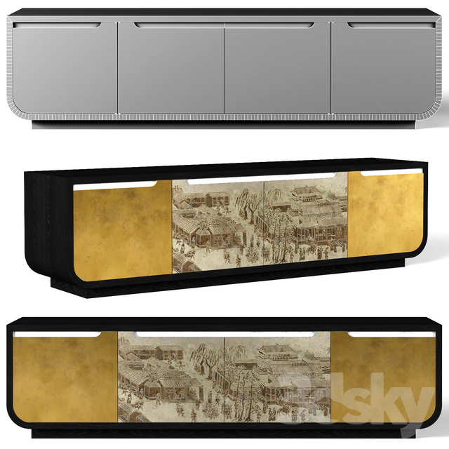 TV cabinet Jonathan Charles Fine Furniture JC Modern Fusion Collection