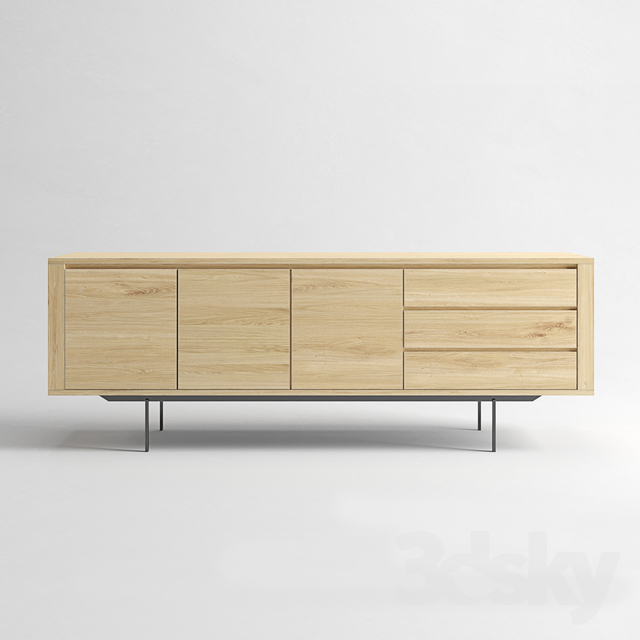 ETHNICRAFT Shadow oak sideboard 3 doors