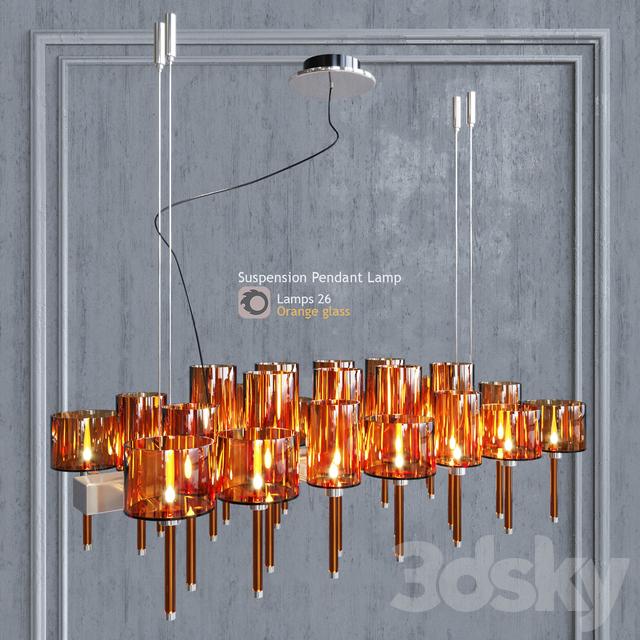Chandelier AXO Light Spillray SP lamps 26 orange glass