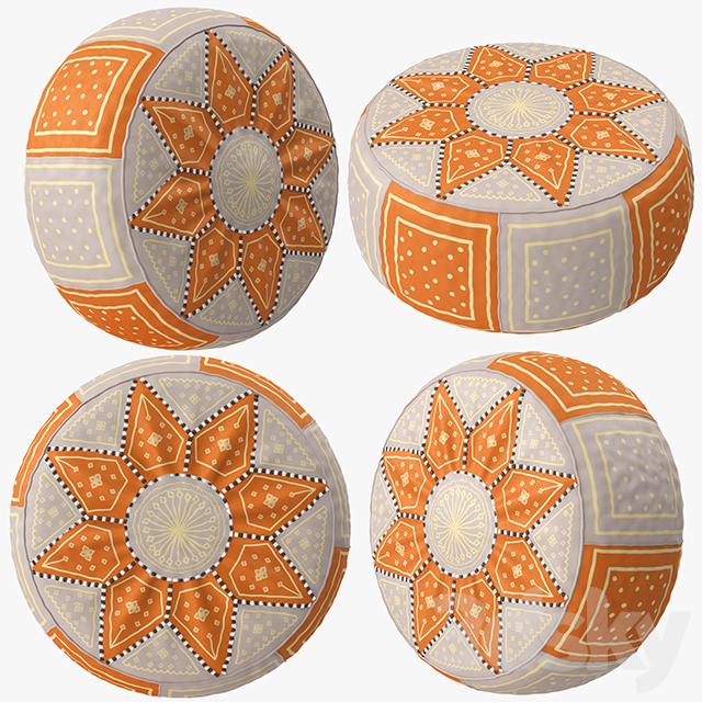 Beige Orange Moroccan Leather Pouf