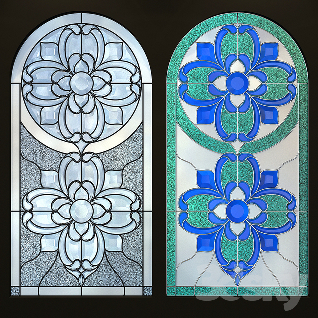 Stained glass window with arch